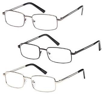 3 Pair Mens Stainless Steel Readers