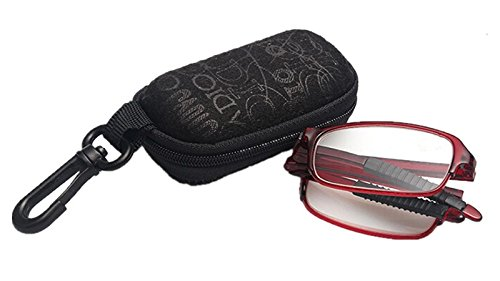 Stylish Red Folding Reading Glasses with Clip Holder Zipper Case