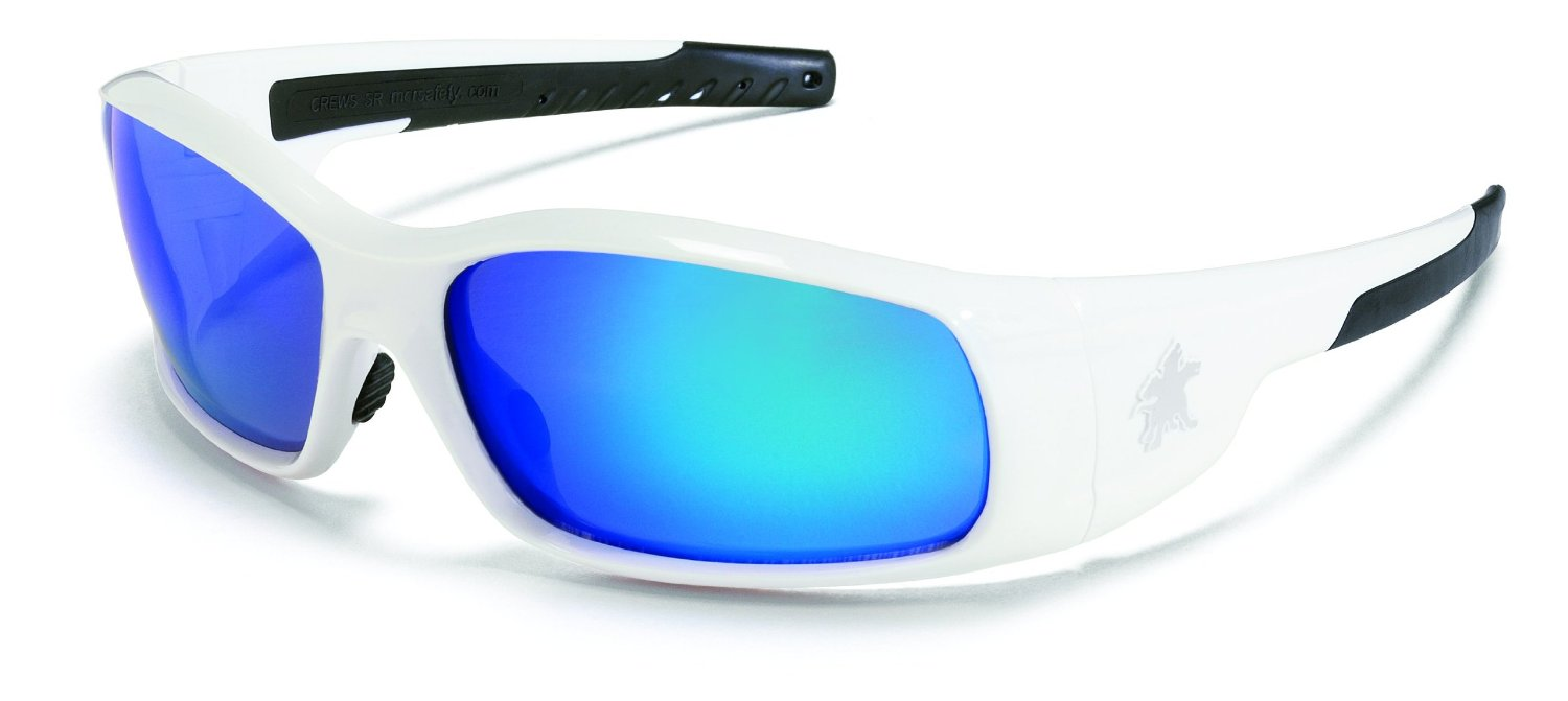Swagger Brash Look Polycarbonate Dual Lens Glasses with Polished White Frame and Blue Diamond Mirror Lens