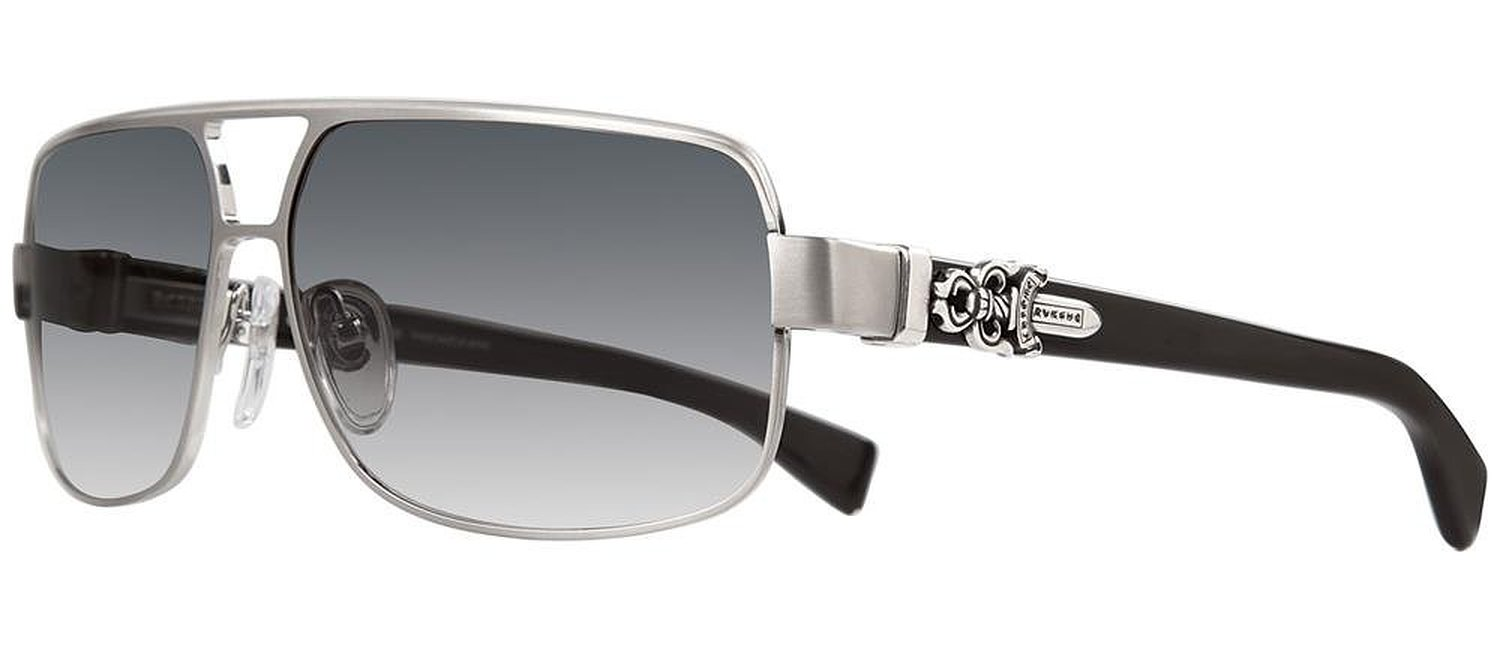 Chrome Hearts Tank Slapper Brushed Silver and Black Plastic Sunglasses