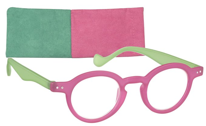 ICU Round Frosted Two Tone Reading Glasses with Soft Case
