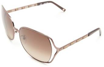 Escada Oversized Gold and White Leather Sunglasses