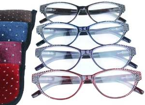 Fiore 4 pack of Glamorous Reading Glasses Enhanced with Sparkly Rhinestones