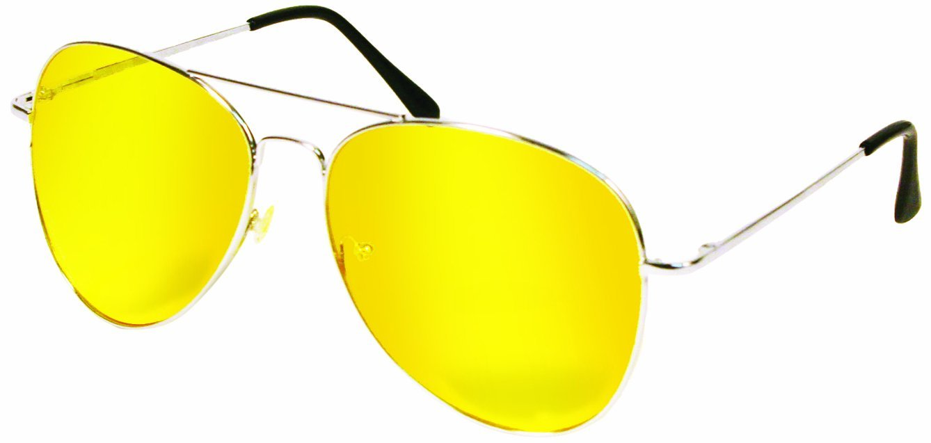 Yellow Polycarbonate Night View Aviator Style Glare Reduction Glasses