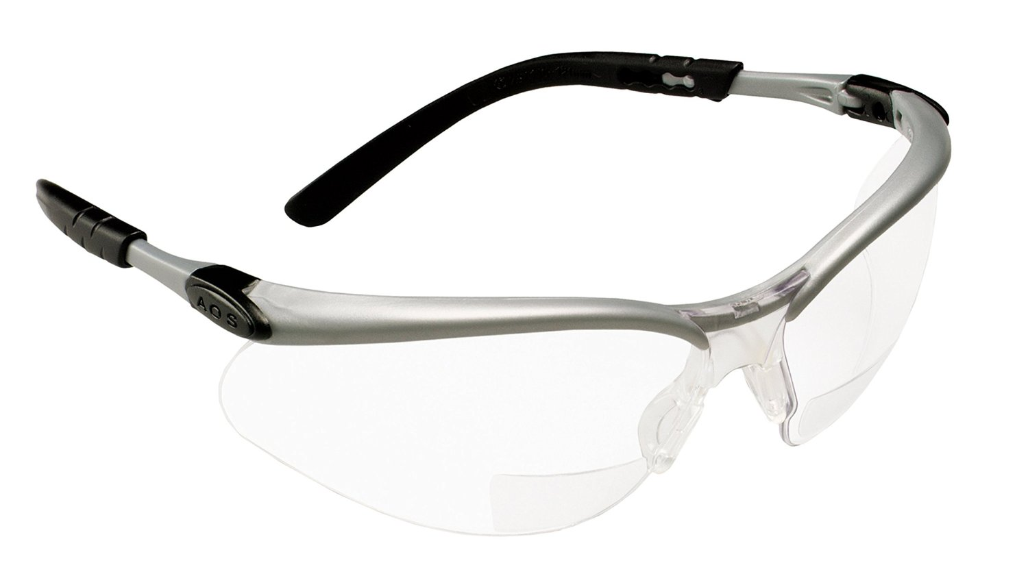 Safety Glasses with +2.0 Diopter Silver and Black Frame