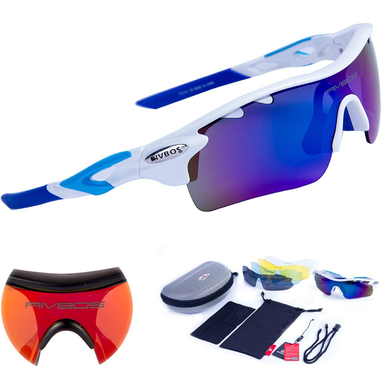 Rivbos Sports Sunglasses with 5 Interchangeable Fluorescent Lenses