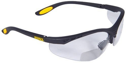 Dewalt Reinforcer Bifocal Clear Lens Protective Safety Glasses with Rubber Temples and Protective Eyeglass Sleeve