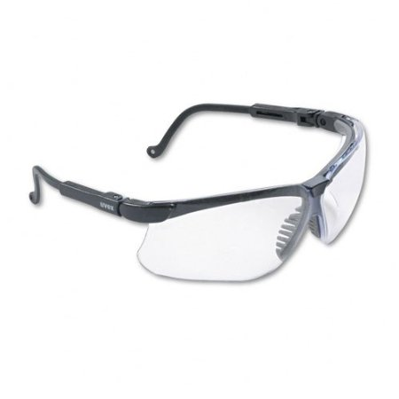 Uvex Genesis Safety Eyewear with a Black Frame and Clear Ultra-Dura Hardcoat Lens
