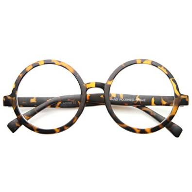 zeroUV Large Oversized Metal Frame Clear Lens Circle Reading Glasses